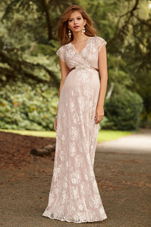 Tiffany Rose Eden Lace Maternity Gown in Blush Celebrity worn - Seven Women Maternity