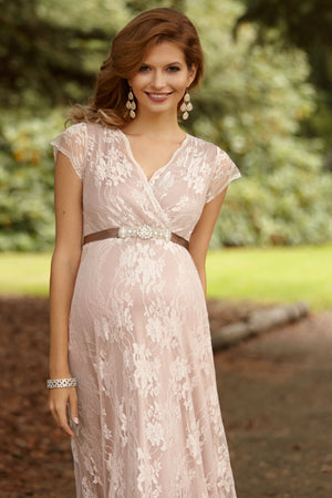 Tiffany Rose Eden Lace Maternity Gown in Blush Celebrity worn