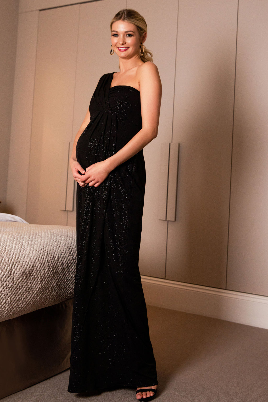 Tiffany Rose Maternity Galaxy Gown In Caviar