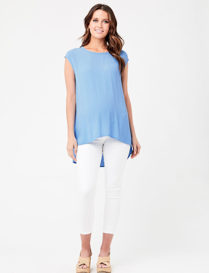 Carrie Chiffon-Like Maternity Top in Sky Blue - Seven Women Maternity