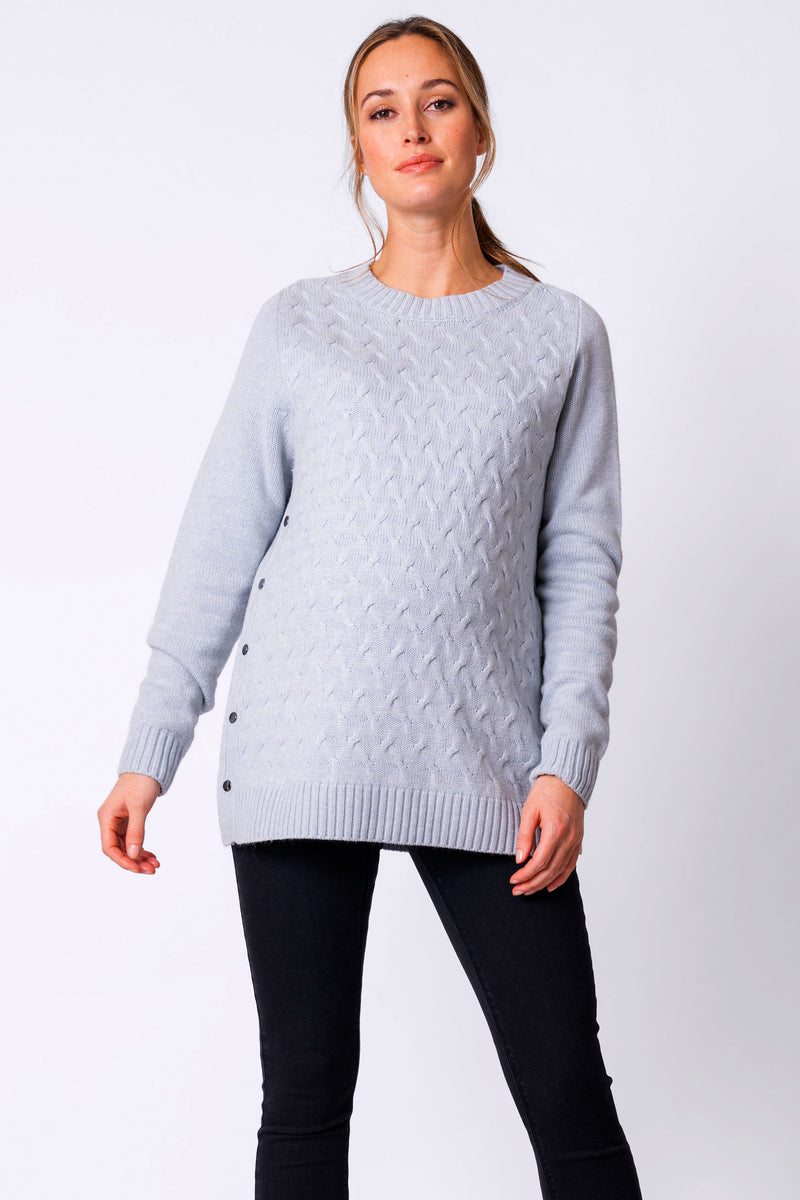 Grete Ice Blue Textured Maternity & Nursing Sweater Seraphine