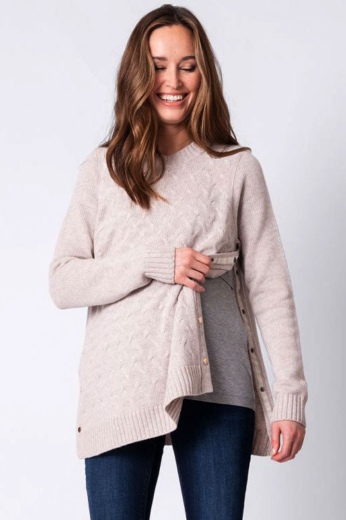 Grete Oatmeal Textured Maternity & Nursing Sweater Seraphine