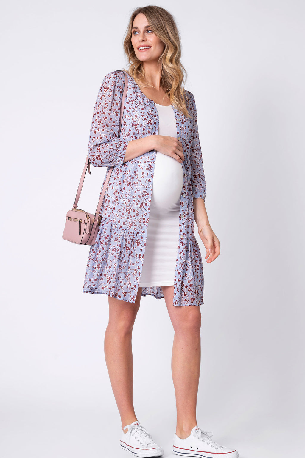 Indiana Blue Floral Tiered Maternity Dress Seraphine