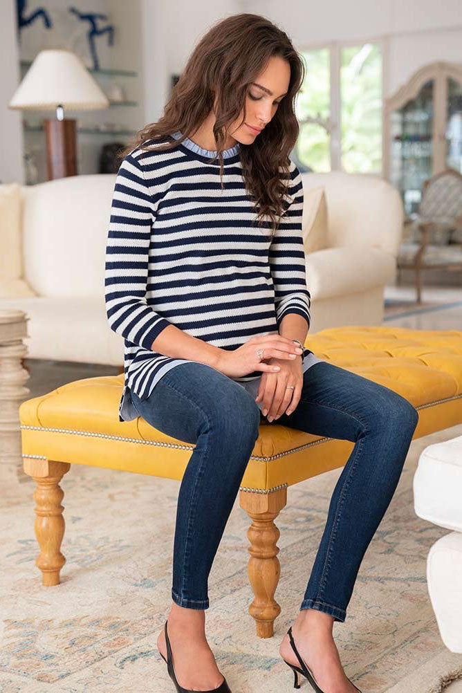 Janice Cotton Maternity & Nursing Sweater with Detachable Collar Seraphine