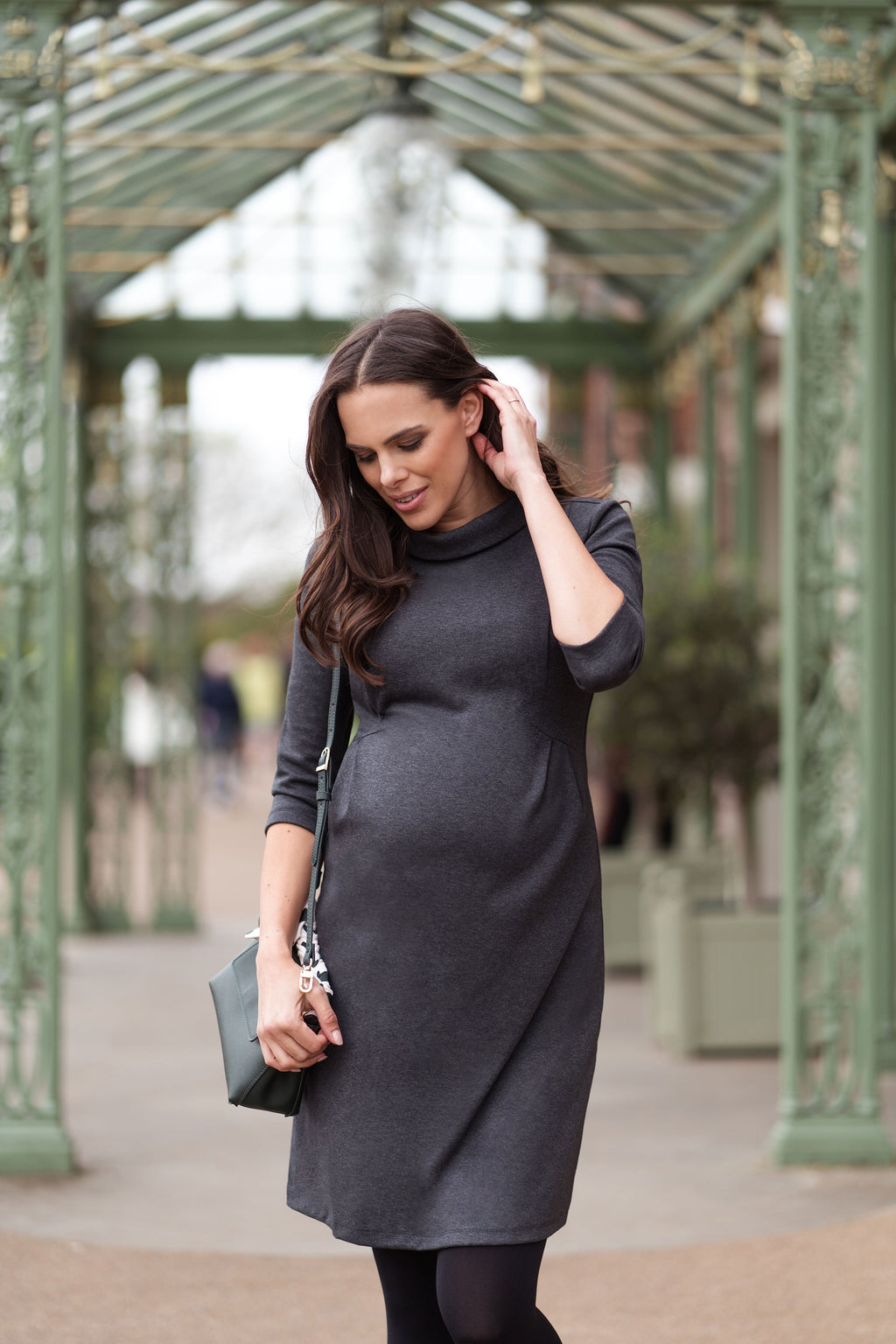 Seraphine Joelle Funnel Neck Maternity Dress