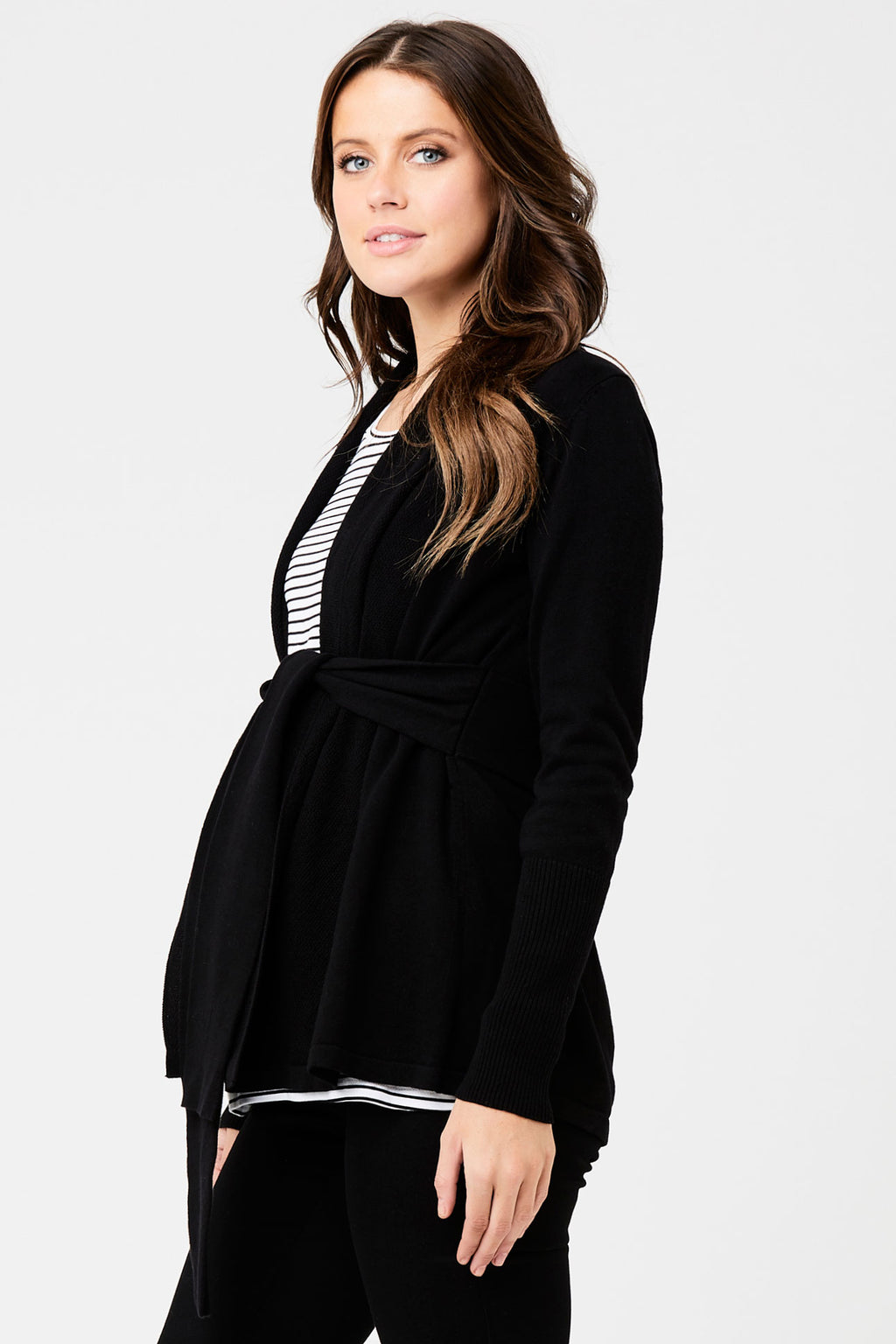 Textured Wrap Cardi in Caviar by Ripe - Seven Women Maternity