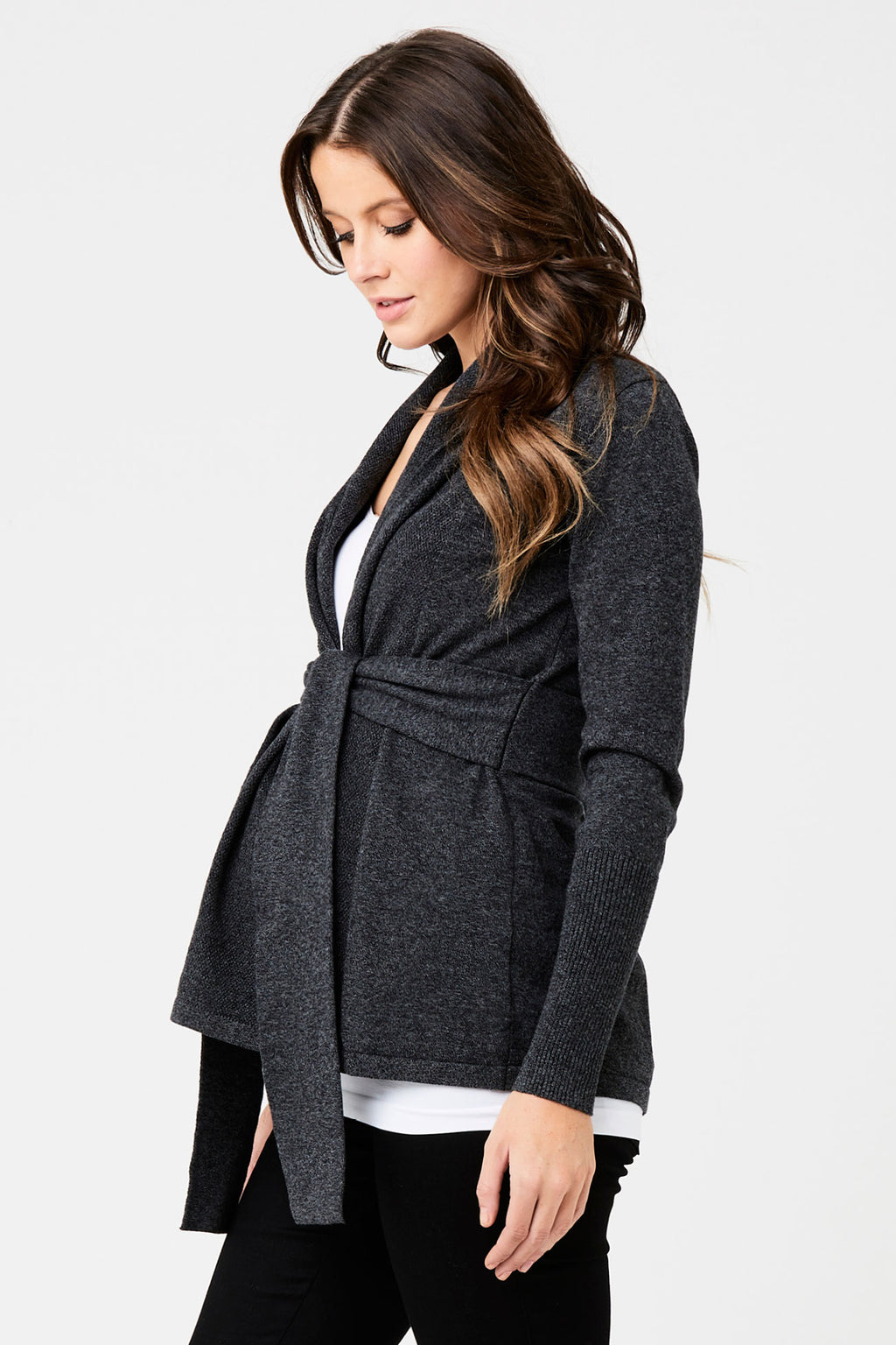 Charcoal Textured Wrap Cardi by Ripe - Seven Women Maternity