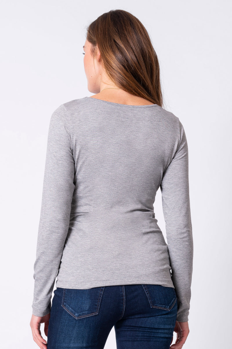 Laina Grey Bamboo Long Sleeve Maternity & Nursing Tee Seraphine