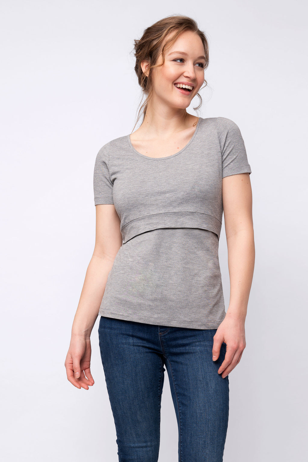 Laina Short Sleeve Maternity Nursing Top Grey Seraphine