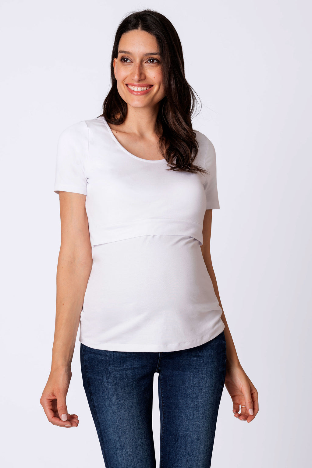 Laina Short Sleeve Maternity Nursing Top White Seraphine