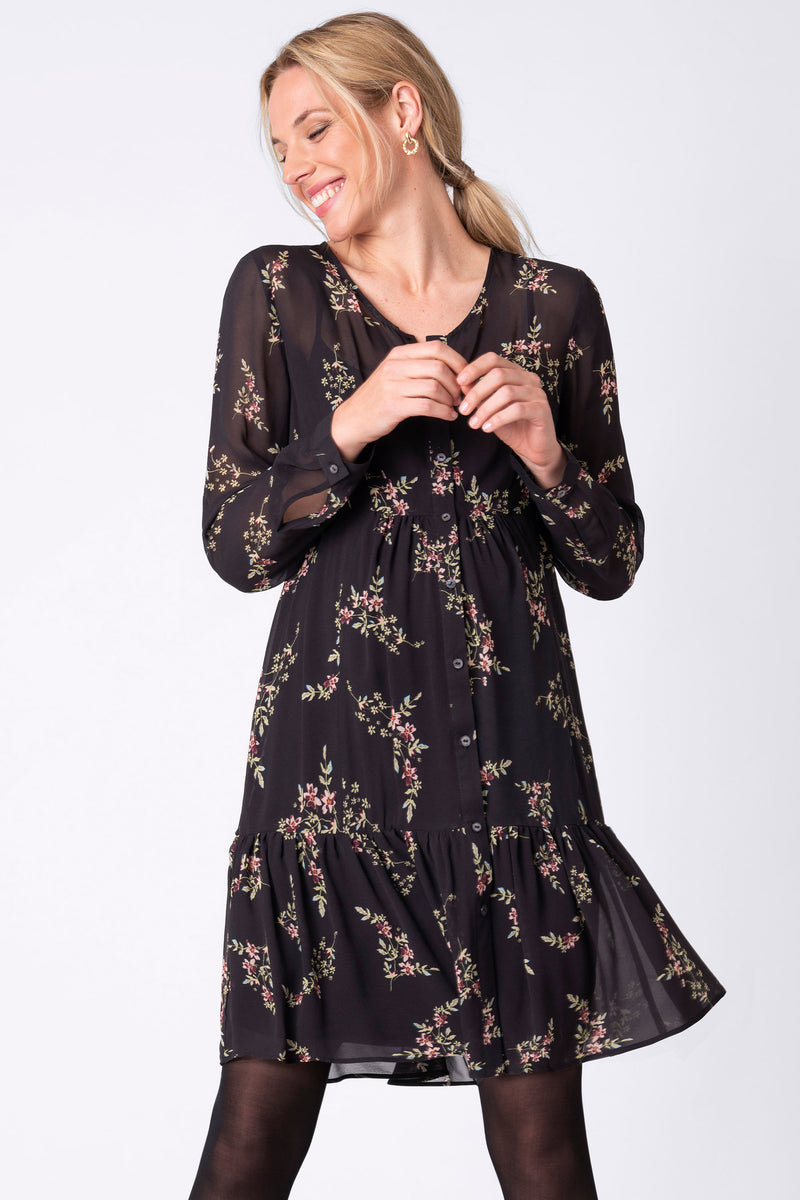 Seraphine Laurel Black Flora Chiffon Maternity Dress - Seven Women Maternity