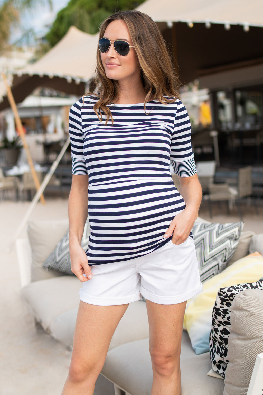 Seraphine Lovelle Nautical Maternity & Nursing Top
