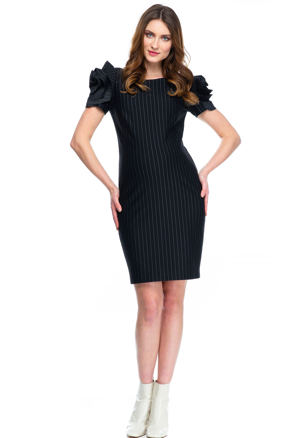 Milano Flower Sleeve Maternity Dress in Pinstripe by P. Brunelli - Seven Women Maternity