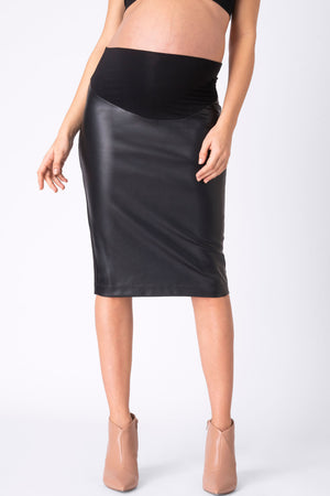 Seraphine Faux Leather Maternity Skirt