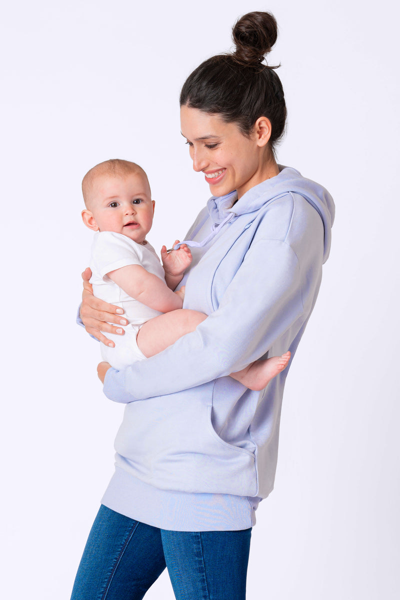 Pernella Powder Blue Maternity & Nursing Hoodie by Seraphine