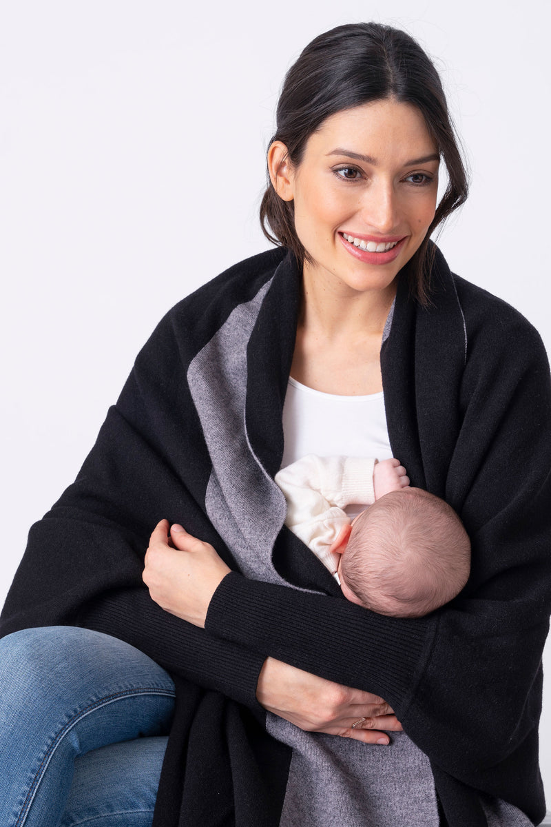 Seraphine Ramira Luxury Black Maternity & Nursing Shawl - Seven Women Maternity