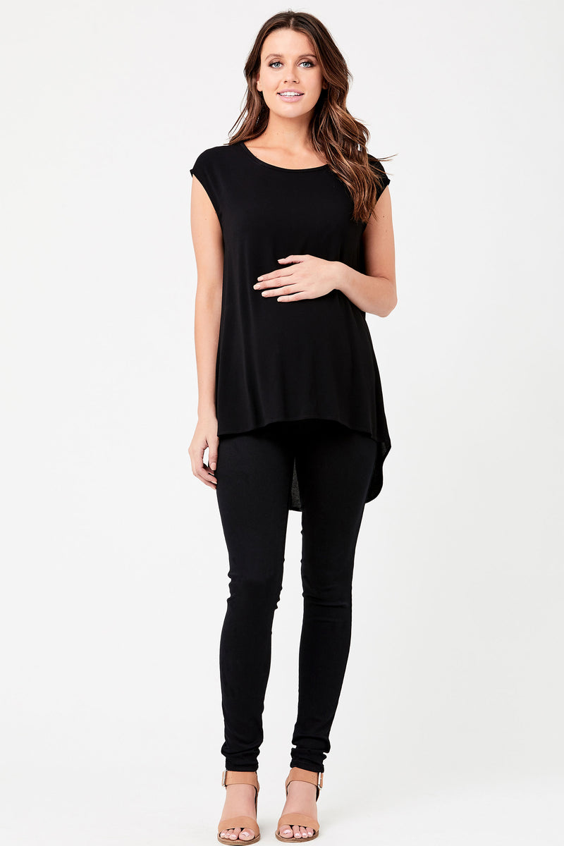 Carrie Chiffon-Like Maternity Top in Caviar by Ripe - Seven Women Maternity