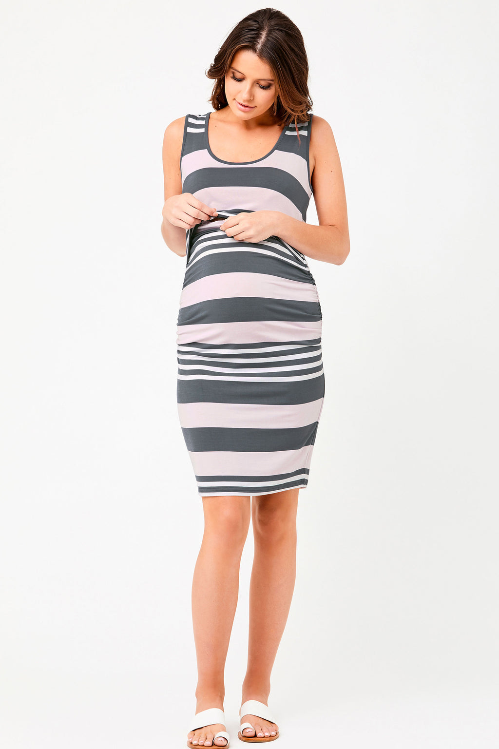 Ripe Georgie Charcoal Stripe Maternity Nursing Dress - Seven Women Maternity