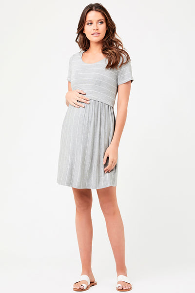 Cirilla Crop Top Maternity Nursing Dress Silver Ripe - Seven Women Maternity
