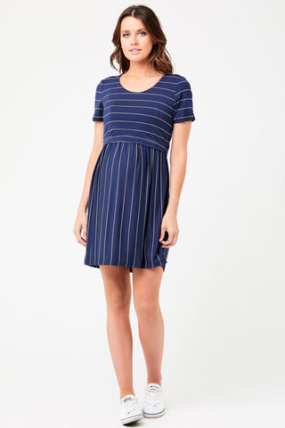 Ripe Georgie Charcoal Stripe Maternity Nursing Dress