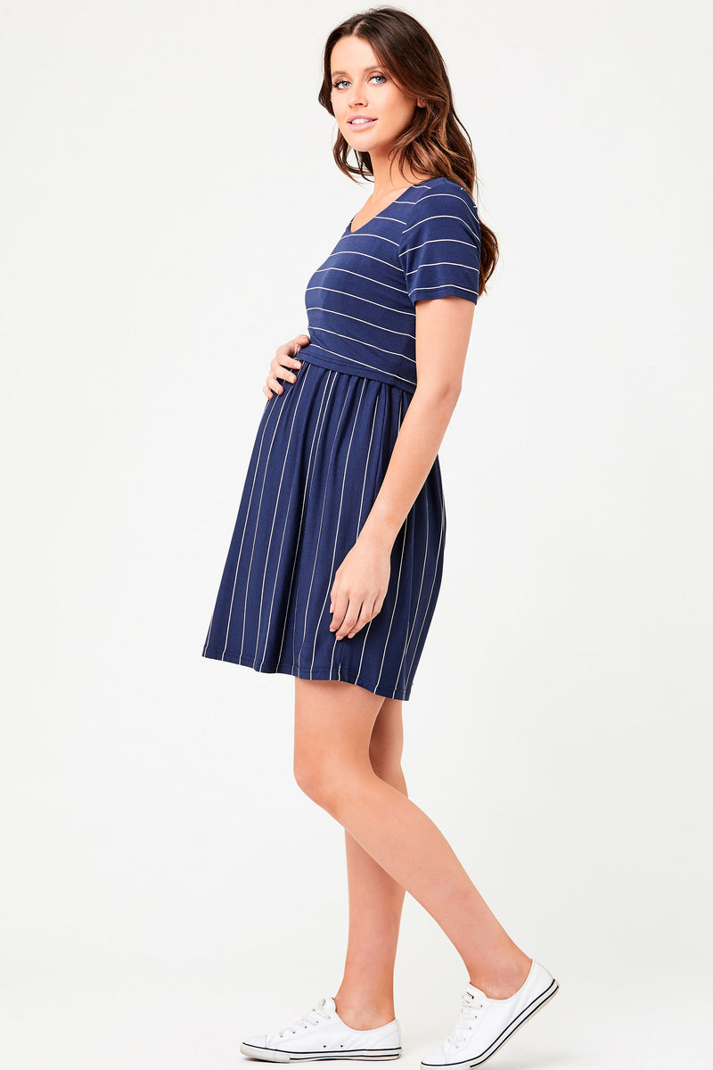 Cirilla Crop Top Maternity Nursing Dress Navy Ripe - Seven Women Maternity