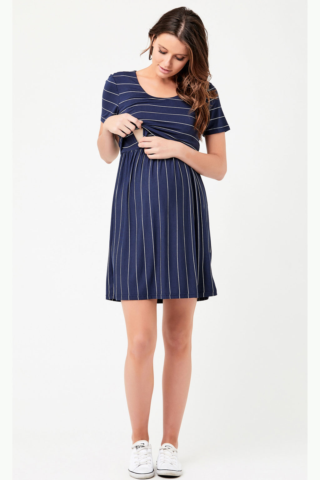Ripe Cirilla Crop Top Maternity Nursing Dress Navy - Seven Women Maternity