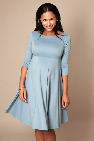 Myra Bell Sleeve Maternity Dress in Blue Leaf