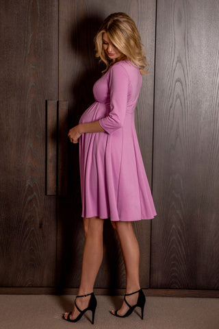Pietro Brunelli Rose Sleeve Maternity Dress in Blush Pink