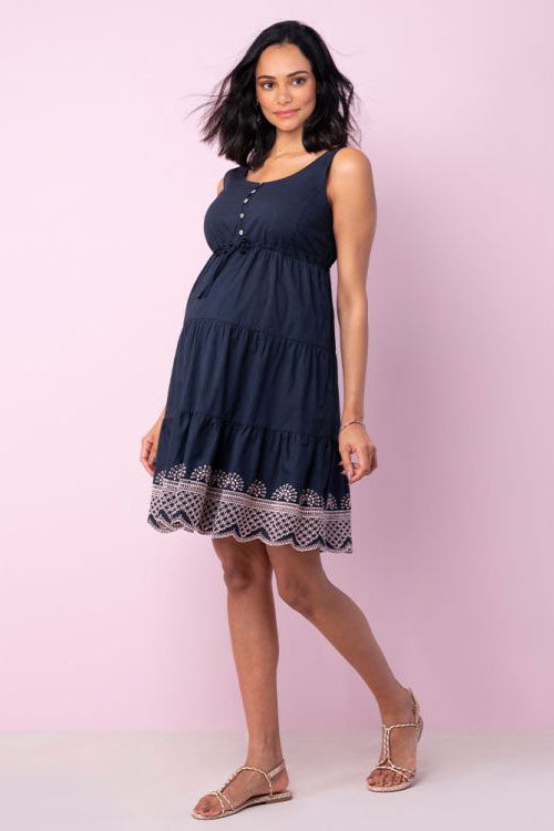 Sabrina Navy Maternity Nursing Sundress Seraphine