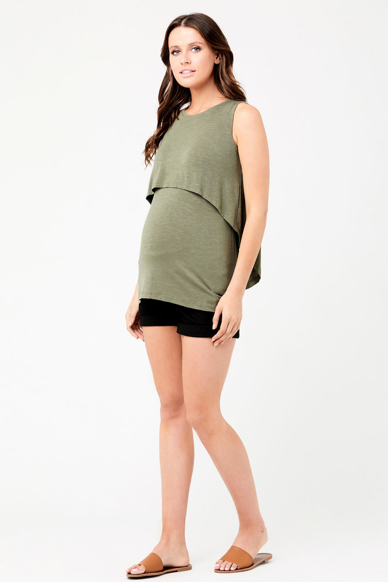 Swing Back Maternity Nursing Top Olive Ripe