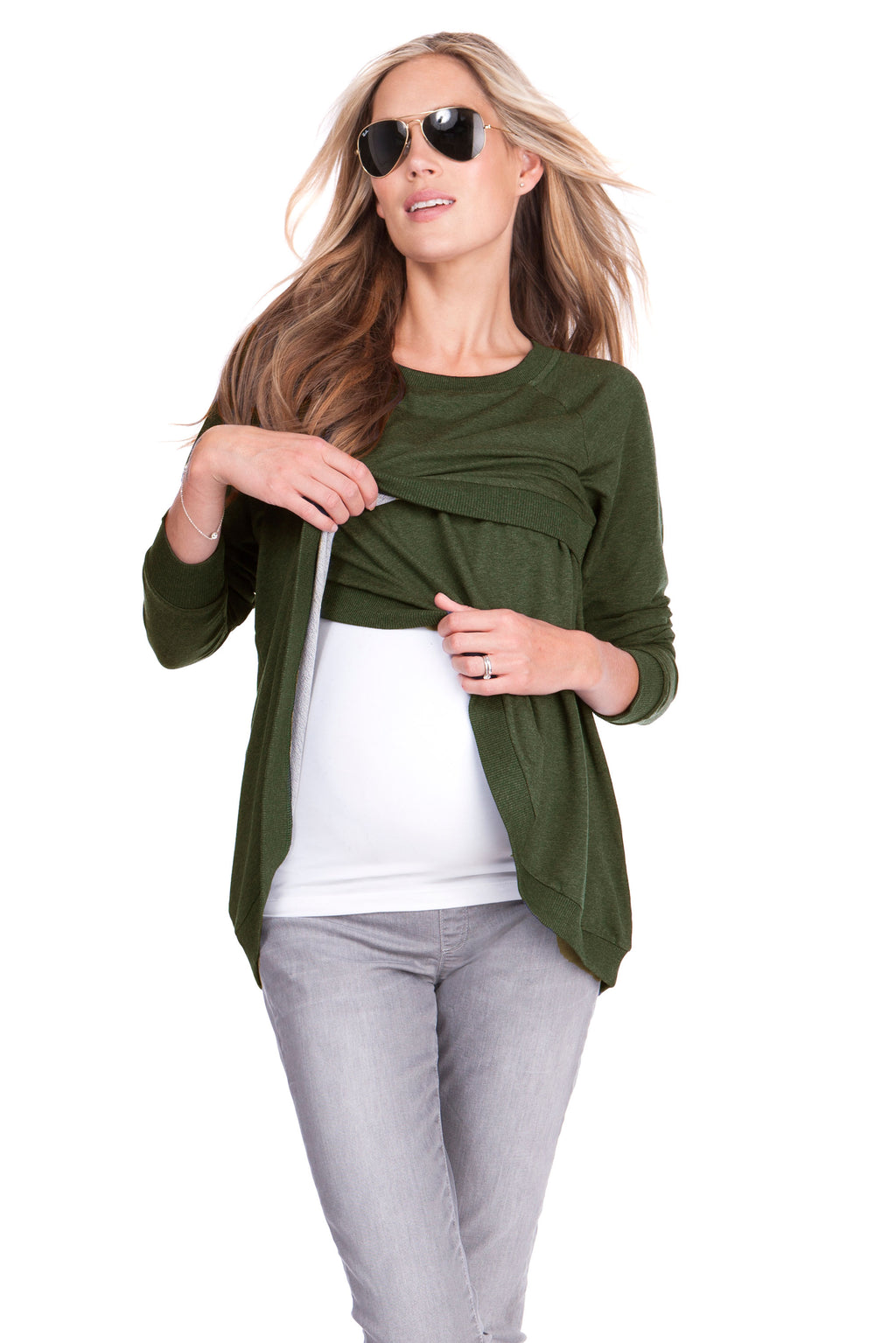 Seraphine Sybil Crossover Maternity & Nursing Sweater - Seven Women Maternity