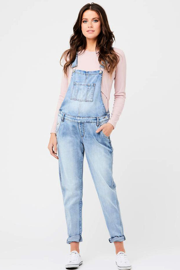 Arizona Pale Blue Denim Maternity Overalls Ripe