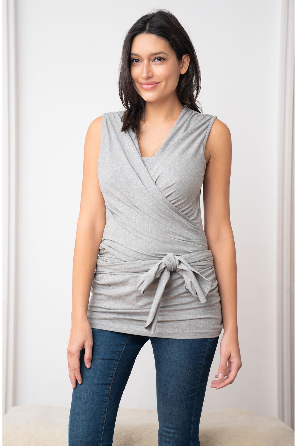 Winifrid Grey Marle Cotton Skin to Skin Top Seraphine