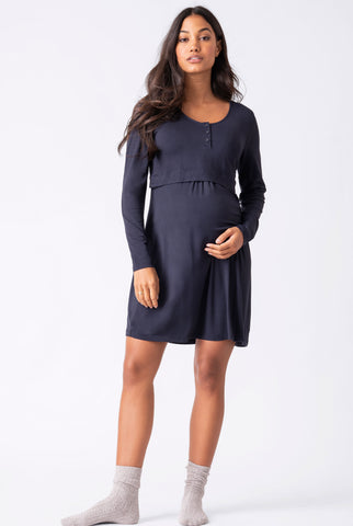 Seraphine Laina ¾ Sleeve Charcoal Maternity & Nursing Top