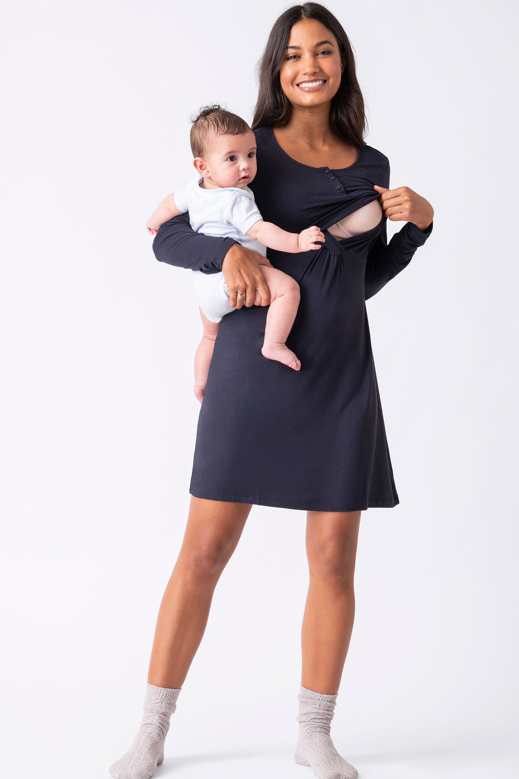 Zarina Long Sleeve Maternity & Nursing Nightie Seraphine