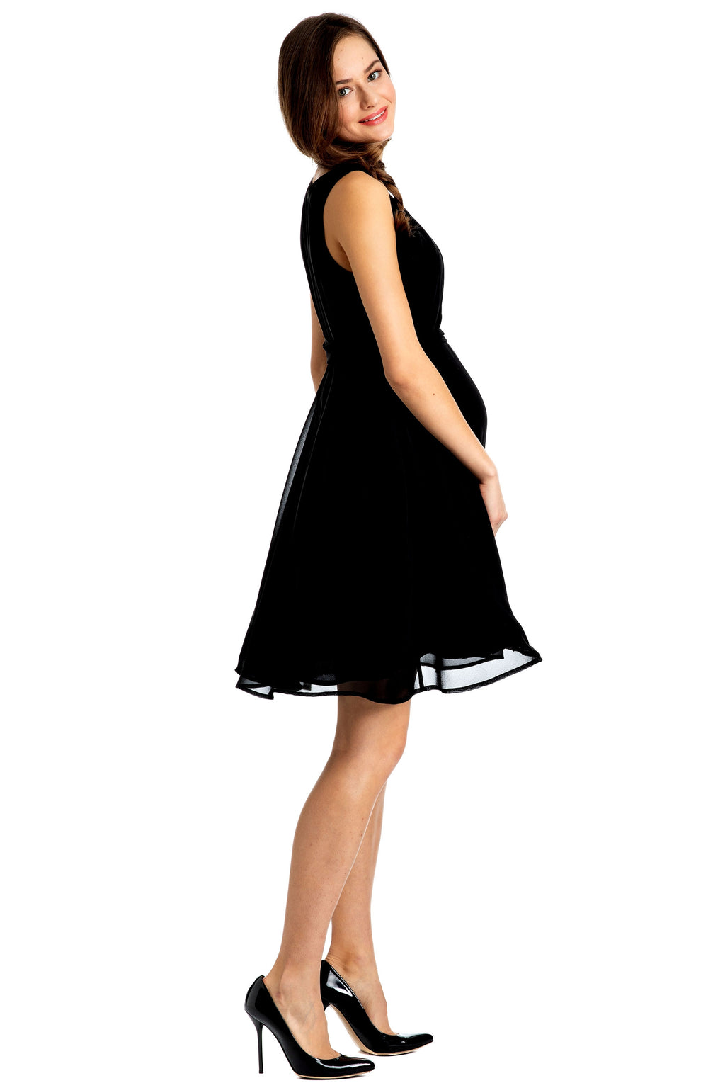 Isabella Chiffon Maternity Dress by Pietro Brunelli In Caviar Blk - Seven Women Maternity