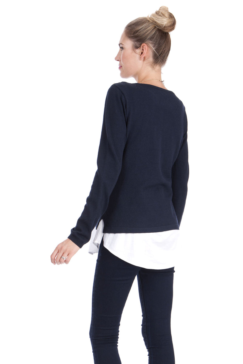 Seraphine Alanis Mock Shirt Nursing Sweater