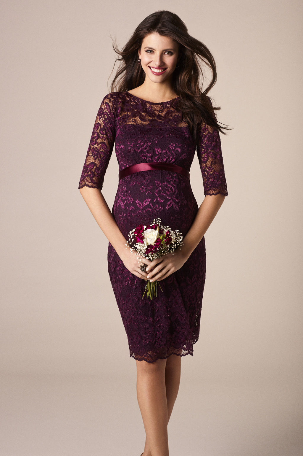 Tiffany Rose Amelia Maternity Lace Dress in Claret