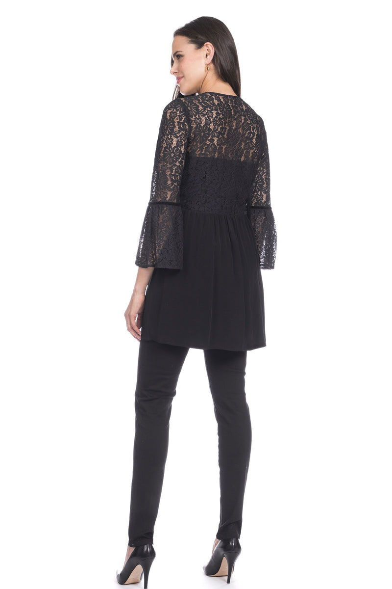 Seraphine Anoushka Black Lace Detail Maternity Tunic - Seven Women Maternity