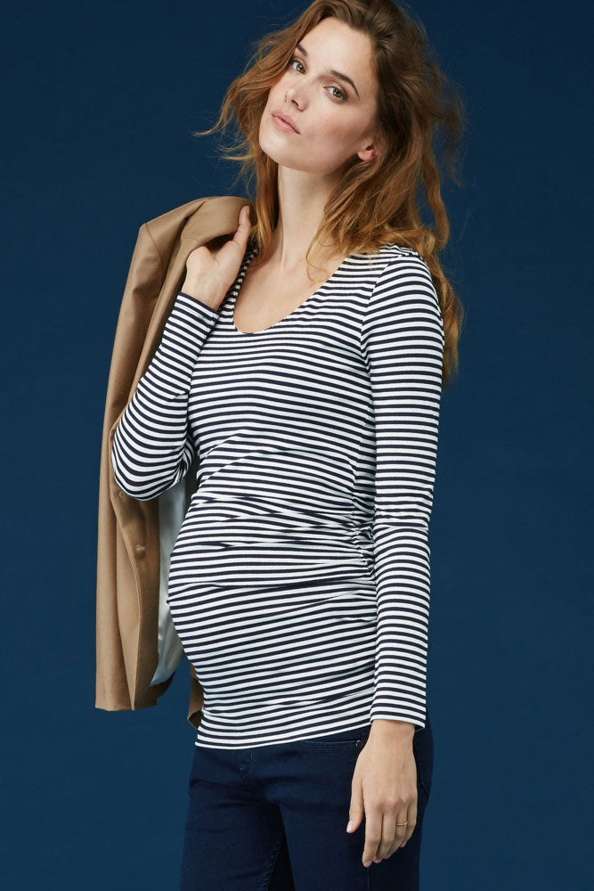 Isabella Oliver Arlington Striped Ruched Top