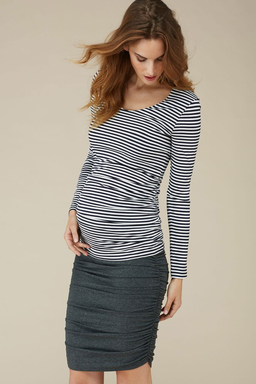 Isabella Oliver Arlington Striped Ruched Top - Seven Women Maternity