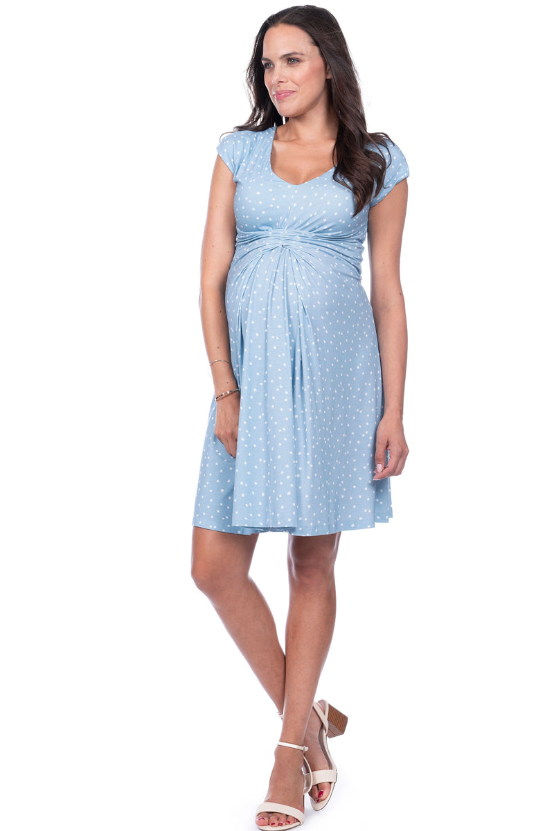 Seraphine Auburn Blue Dot Empire Detail Maternity Dress - Seven Women Maternity