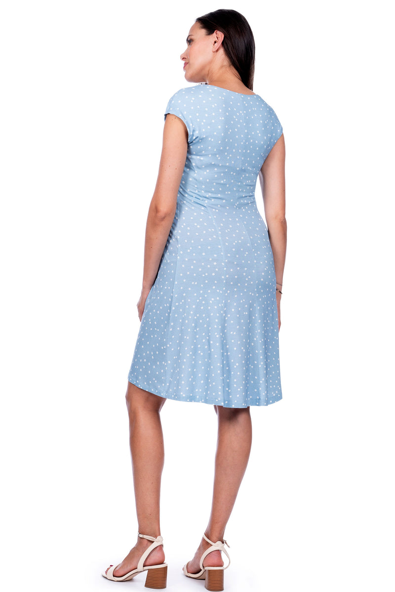 Seraphine Auburn Blue Dot Empire Detail Maternity Dress