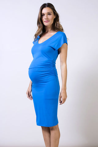 Cirilla Crop Top Maternity Nursing Dress Navy Ripe
