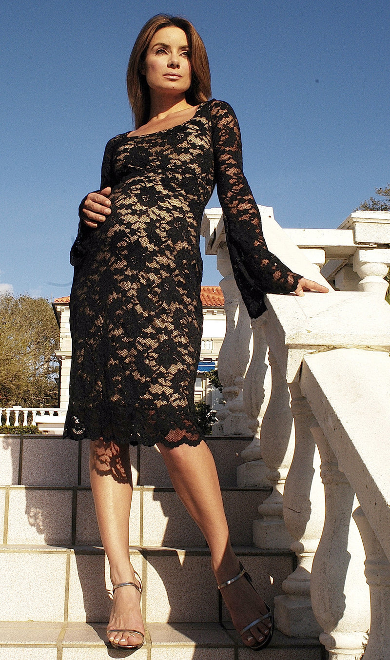 LS Black Lace on Nude Stefy dress
