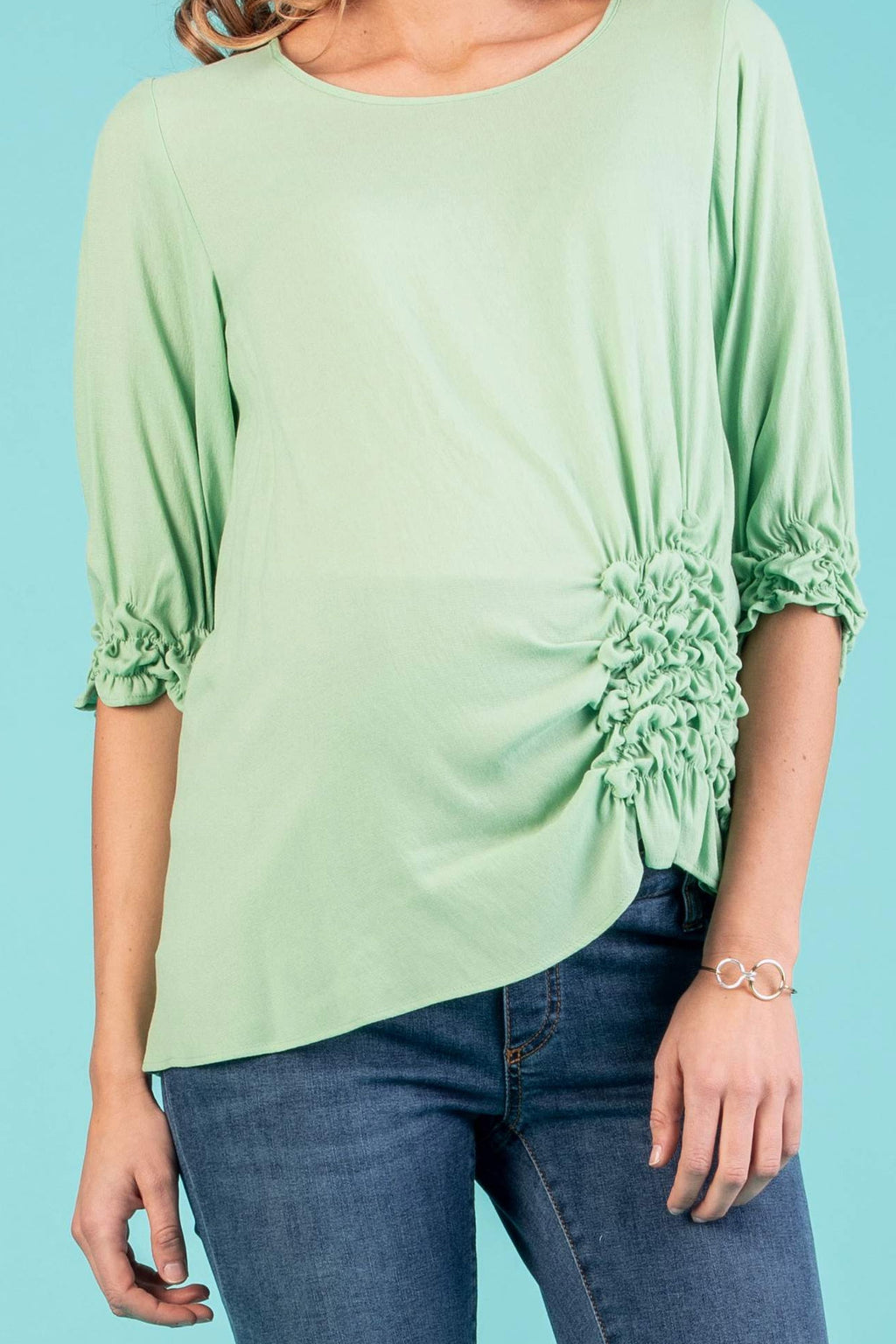 The Alyssa Side-Detailed Maternity Top in Pistachio - Seven Women Maternity