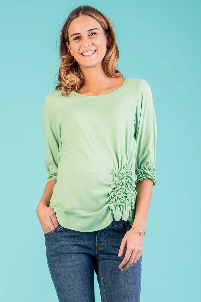 The Alyssa Side-Detailed Maternity Top in Pistachio