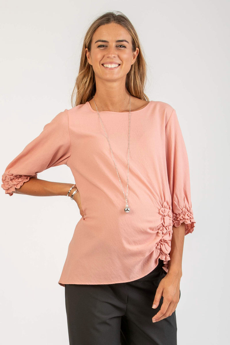 The Alyssa Side-Detailed Maternity Top in Blush