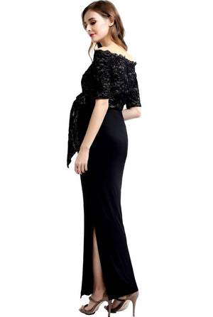 Bridget Lace Off Shoulder Maxi Maternity Dress