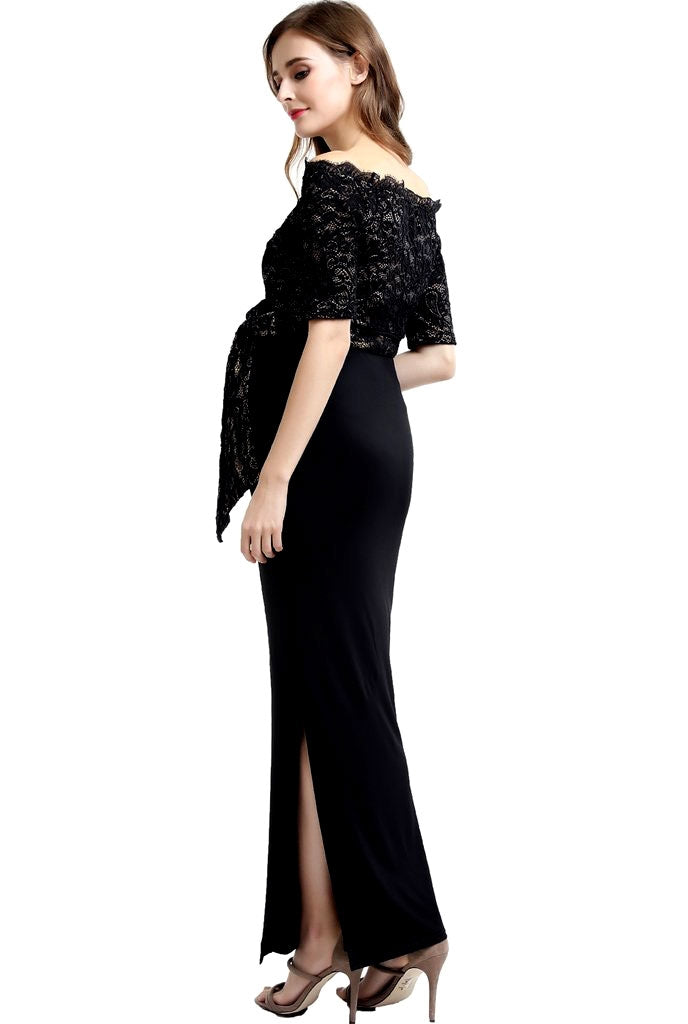 Bridget Lace Off Shoulder Maxi Maternity Dress - Seven Women Maternity
